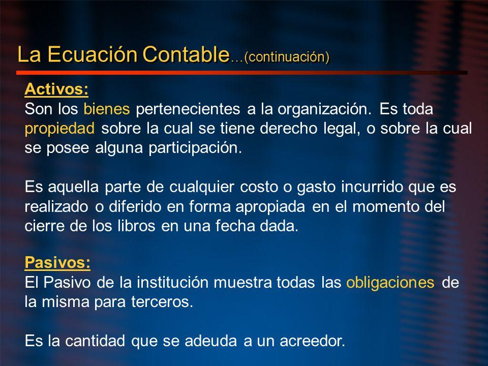 La Ecuación Contable …(continuación) Activos: Son los bienes pertenecientes a la organización. Es toda propiedad sobre la cual se tiene derecho legal,