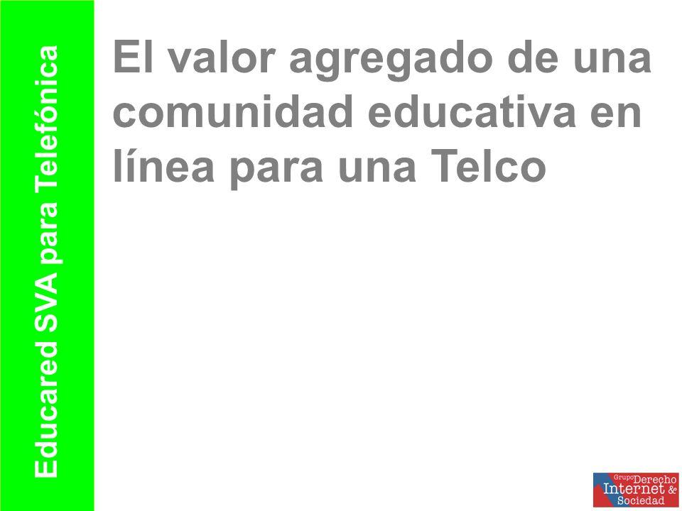 Unas notas sobre las oportunidades que el cambio representa para las Telco: conectar personas y contenidos, estándares abiertos y cooperación El marco de los contenidos educativos en Internet responde a entornos con las características de oportunidad en la red Educared un sistema de valor agreagado (SVA) para telefónica que le permite explorar oportunidades, conectar usuarios, producir contenidos bajo los nuevos parámetros y apoyar procesos de cooperación en un sector clave de la sociedad.