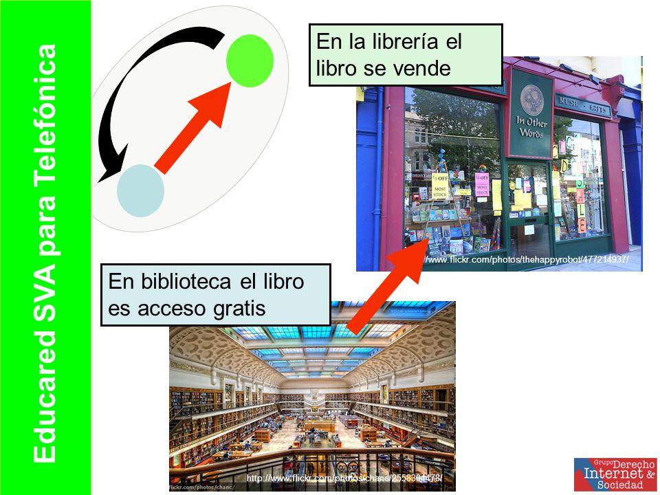 Educared SVA para Telefónica http://www.flickr.com/photos/chanc/2558304478/ http://www.flickr.com/photos/thehappyrobot/477214937/ En biblioteca el libro es acceso gratis En la librería el libro se vende