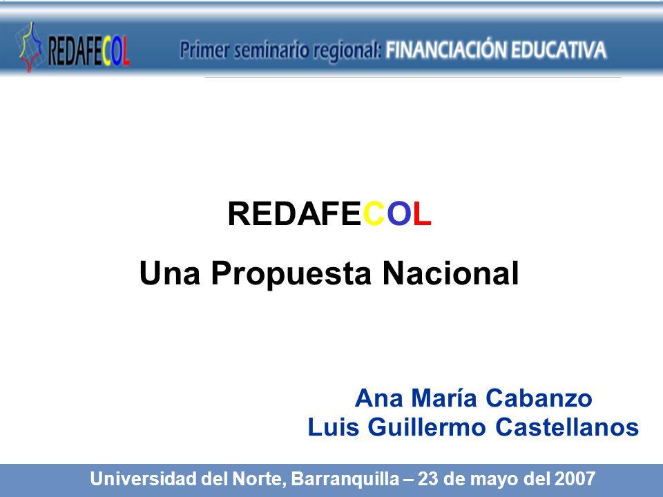 REDAFECOL Una Propuesta Nacional Ana María Cabanzo Luis Guillermo Castellanos Universidad del Norte, Barranquilla – 23 de mayo del 2007