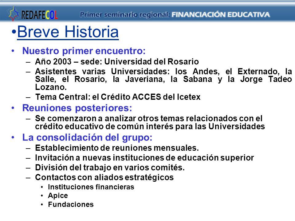 Breve Historia Nuestro primer encuentro: –Año 2003 – sede: Universidad del Rosario –Asistentes varias Universidades: los Andes, el Externado, la Salle, el Rosario, la Javeriana, la Sabana y la Jorge Tadeo Lozano.