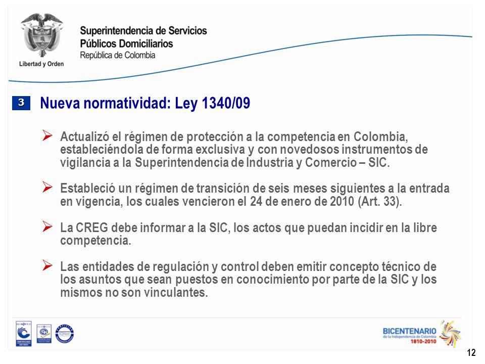 12 Nueva normatividad: Ley 1340/09 3333 Actualizó el régimen de protección a la competencia en Colombia, estableciéndola de forma exclusiva y con nove