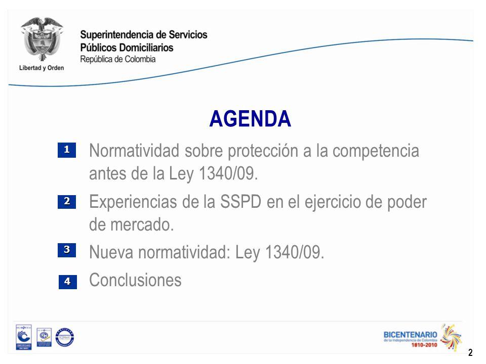 AGENDA Normatividad sobre protección a la competencia antes de la Ley 1340/09. Experiencias de la SSPD en el ejercicio de poder de mercado. Nueva norm
