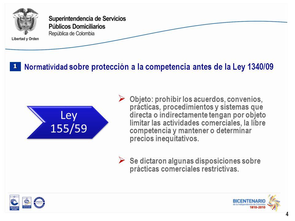 Reestructuró la Superintendencia de Industria y Comercio - SIC y reafirmó la vigencia de la Ley 155/56.