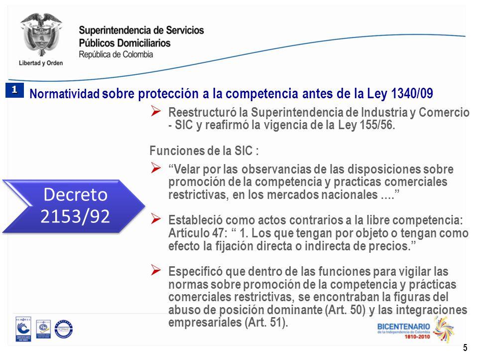 Reestructuró la Superintendencia de Industria y Comercio - SIC y reafirmó la vigencia de la Ley 155/56. Funciones de la SIC : Velar por las observanci