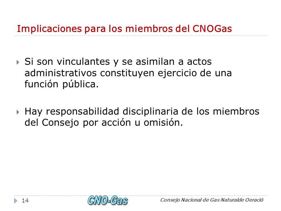 Implicaciones para los miembros del CNOGas Si son vinculantes y se asimilan a actos administrativos constituyen ejercicio de una función pública.
