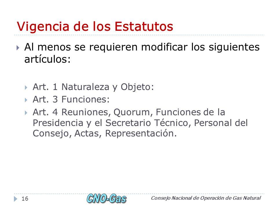 Vigencia de los Estatutos Al menos se requieren modificar los siguientes artículos: Art.