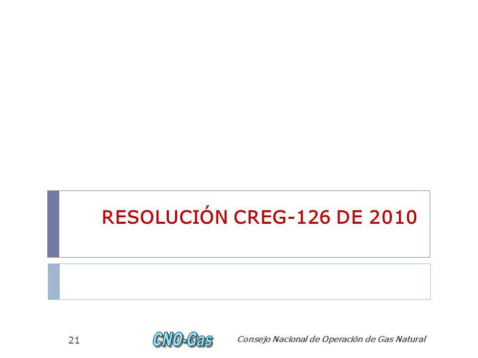 RESOLUCIÓN CREG-126 DE 2010 Consejo Nacional de Operación de Gas Natural 21