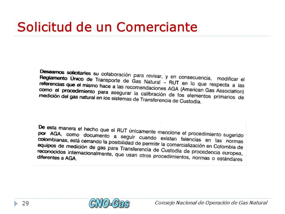 Solicitud de un Comerciante Consejo Nacional de Operación de Gas Natural 29