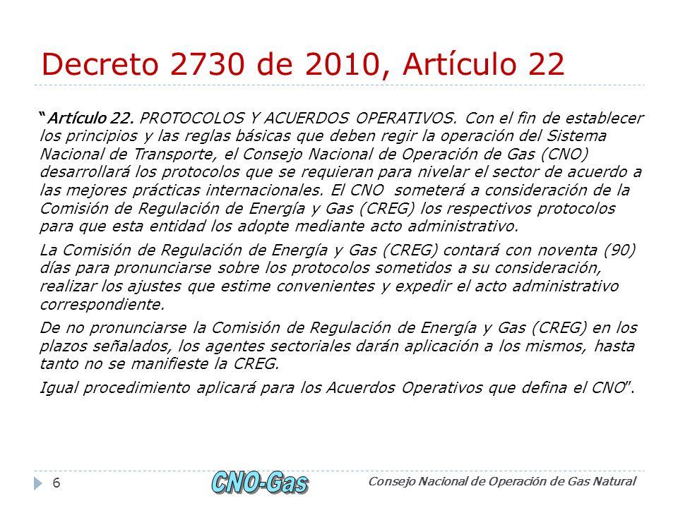 Decreto 2730 de 2010, Artículo 22 Artículo 22. PROTOCOLOS Y ACUERDOS OPERATIVOS.