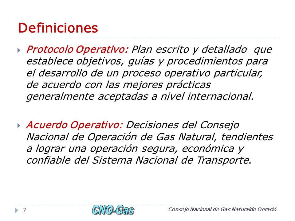 Definiciones Protocolo Operativo: Plan escrito y detallado que establece objetivos, guías y procedimientos para el desarrollo de un proceso operativo particular, de acuerdo con las mejores prácticas generalmente aceptadas a nivel internacional.