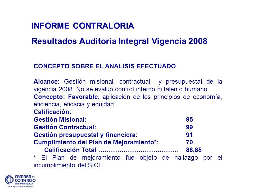 INFORME CONTRALORIA Resultados Auditoría Integral Vigencia 2008 CONCEPTO SOBRE EL ANALISIS EFECTUADO Alcance: Gestión misional, contractual y presupue