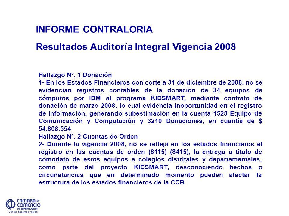 INFORME CONTRALORIA Resultados Auditoría Integral Vigencia 2008 Hallazgo N°. 1 Donación 1- En los Estados Financieros con corte a 31 de diciembre de 2