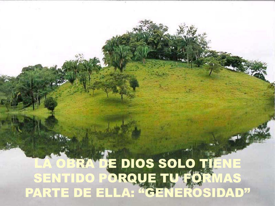 LA OBRA DE DIOS SOLO TIENE SENTIDO PORQUE TU FORMAS PARTE DE ELLA: GENEROSIDAD