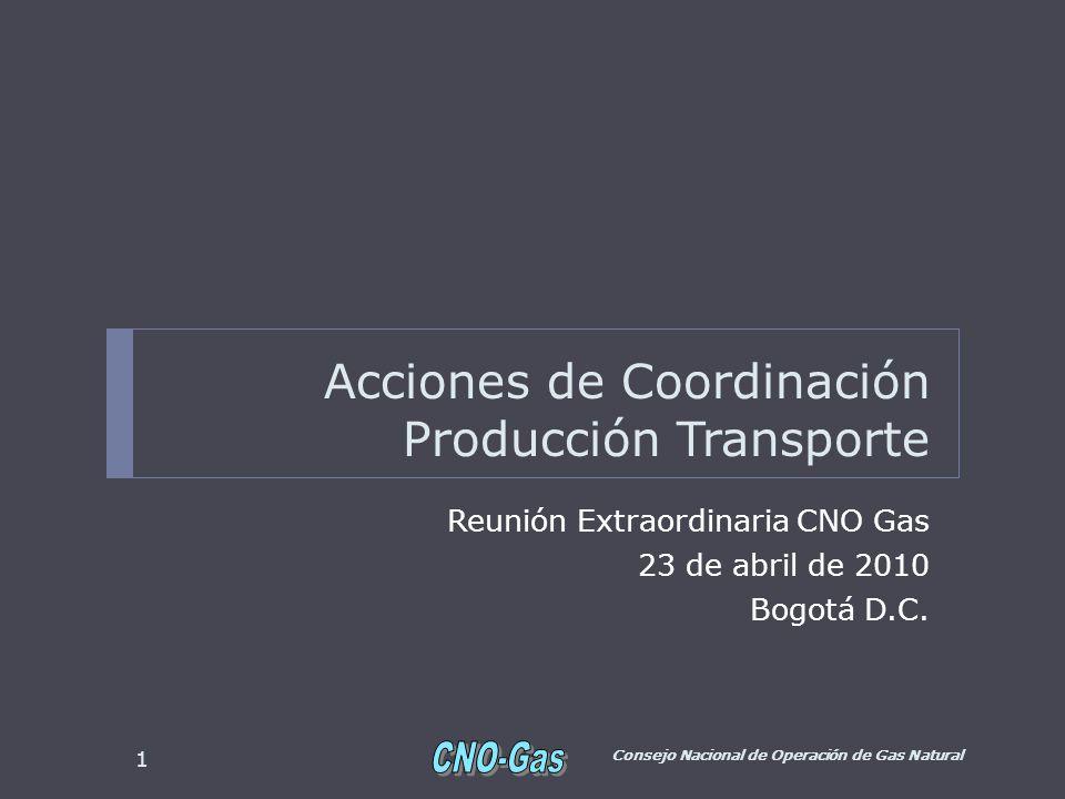 Acciones de Coordinación Producción Transporte Reunión Extraordinaria CNO Gas 23 de abril de 2010 Bogotá D.C. Consejo Nacional de Operación de Gas Nat