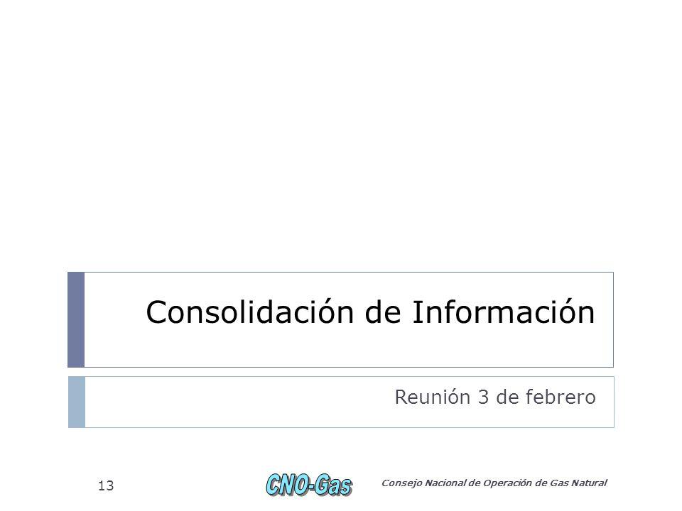 Consolidación de Información Reunión 3 de febrero Consejo Nacional de Operación de Gas Natural 13