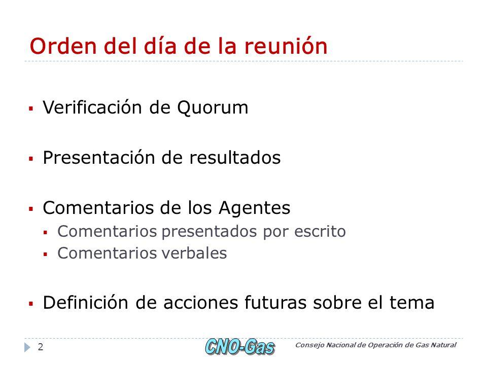 Orden del día de la reunión Verificación de Quorum Presentación de resultados Comentarios de los Agentes Comentarios presentados por escrito Comentarios verbales Definición de acciones futuras sobre el tema Consejo Nacional de Operación de Gas Natural 2