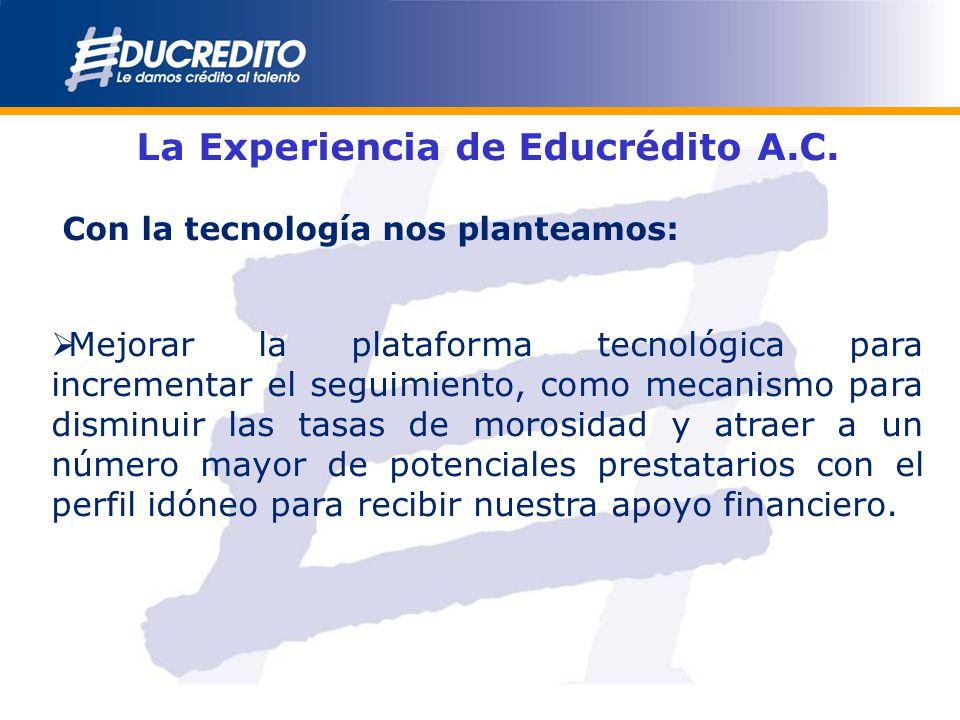 La Experiencia de Educrédito A.C. Con la tecnología nos planteamos: Mejorar la plataforma tecnológica para incrementar el seguimiento, como mecanismo