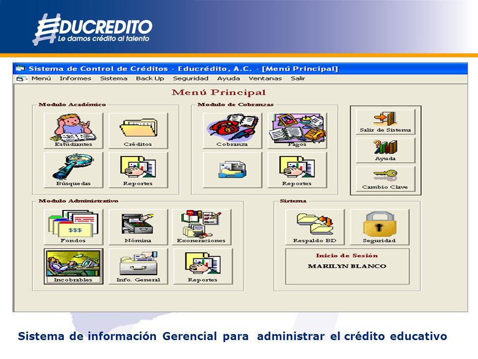 Sistema de información Gerencial para administrar el crédito educativo