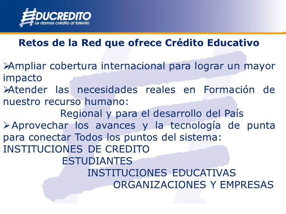 Retos de la Red que ofrece Crédito Educativo Ampliar cobertura internacional para lograr un mayor impacto Atender las necesidades reales en Formación