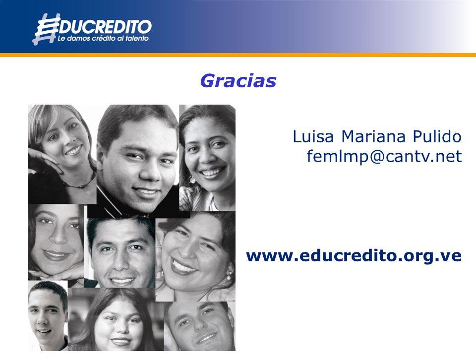 Gracias Luisa Mariana Pulido femlmp@cantv.net www.educredito.org.ve