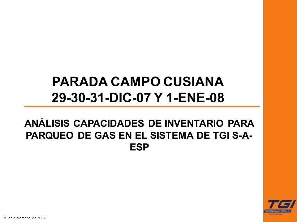20 de diciembre de 2007 ANÁLISIS CAPACIDADES DE INVENTARIO PARA PARQUEO DE GAS EN EL SISTEMA DE TGI S-A- ESP PARADA CAMPO CUSIANA 29-30-31-DIC-07 Y 1-ENE-08