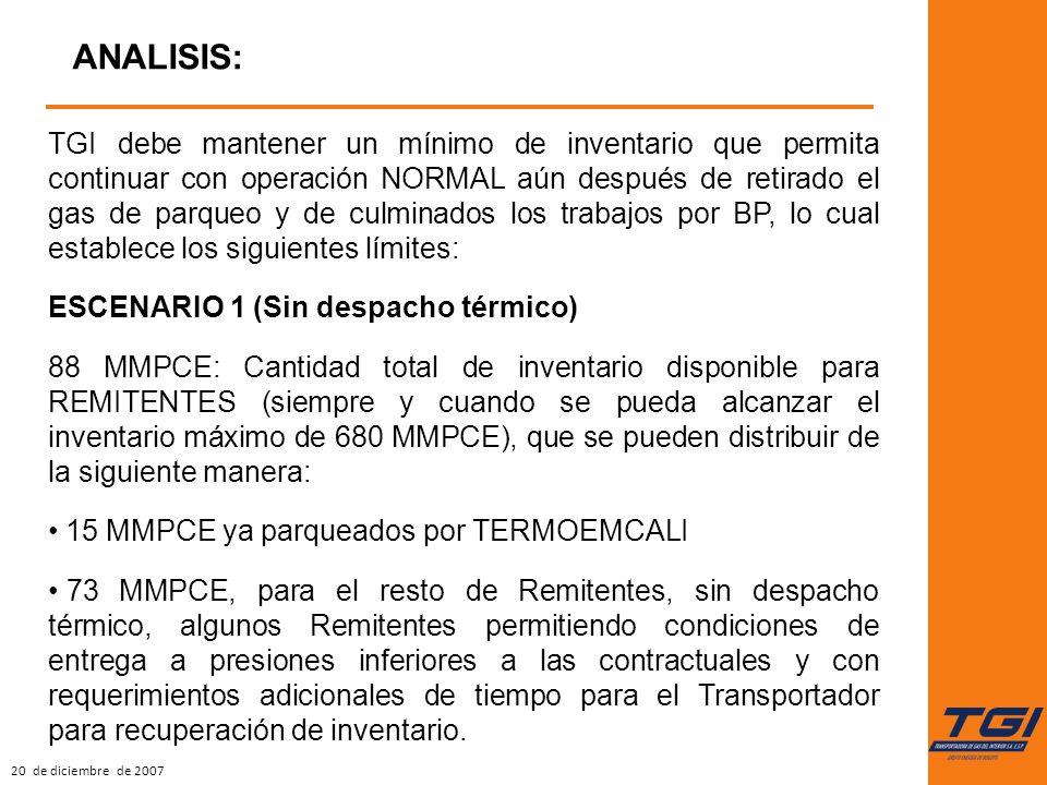 20 de diciembre de 2007 ANALISIS: TGI debe mantener un mínimo de inventario que permita continuar con operación NORMAL aún después de retirado el gas de parqueo y de culminados los trabajos por BP, lo cual establece los siguientes límites: ESCENARIO 1 (Sin despacho térmico) 88 MMPCE: Cantidad total de inventario disponible para REMITENTES (siempre y cuando se pueda alcanzar el inventario máximo de 680 MMPCE), que se pueden distribuir de la siguiente manera: 15 MMPCE ya parqueados por TERMOEMCALI 73 MMPCE, para el resto de Remitentes, sin despacho térmico, algunos Remitentes permitiendo condiciones de entrega a presiones inferiores a las contractuales y con requerimientos adicionales de tiempo para el Transportador para recuperación de inventario.