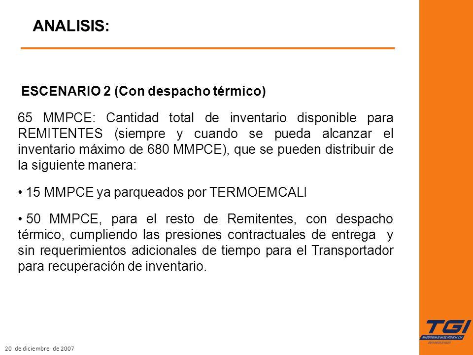20 de diciembre de 2007 ANALISIS: ESCENARIO 2 (Con despacho térmico) 65 MMPCE: Cantidad total de inventario disponible para REMITENTES (siempre y cuan