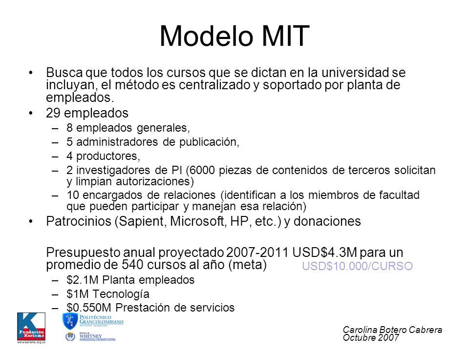 Carolina Botero Cabrera Octubre 2007 Modelo MIT Busca que todos los cursos que se dictan en la universidad se incluyan, el método es centralizado y soportado por planta de empleados.