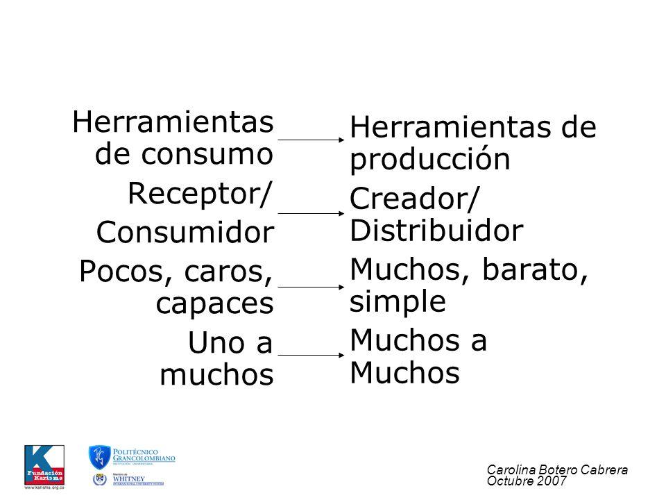 Carolina Botero Cabrera Octubre 2007 Herramientas de producción Creador/ Distribuidor Muchos, barato, simple Muchos a Muchos Herramientas de consumo Receptor/ Consumidor Pocos, caros, capaces Uno a muchos