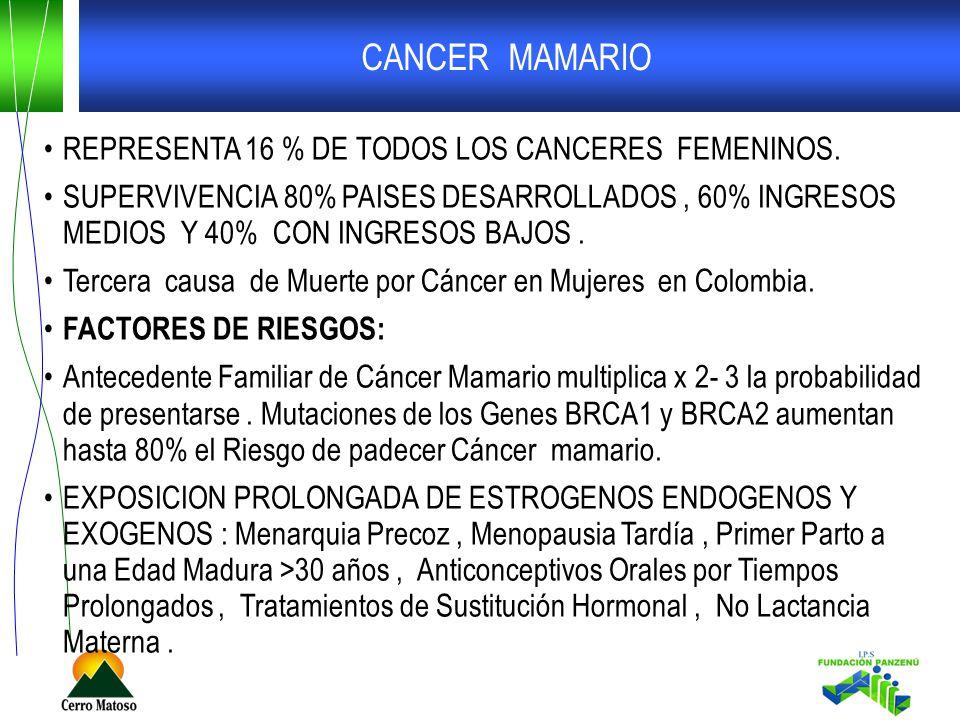 CANCER MAMARIO REPRESENTA 16 % DE TODOS LOS CANCERES FEMENINOS. SUPERVIVENCIA 80% PAISES DESARROLLADOS, 60% INGRESOS MEDIOS Y 40% CON INGRESOS BAJOS.