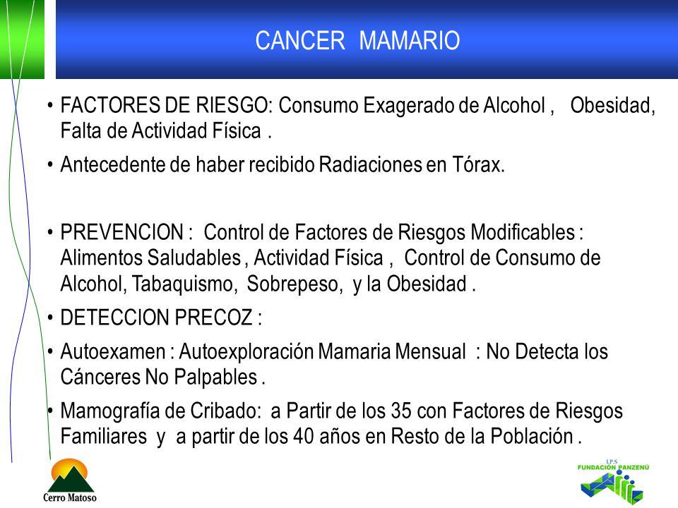CANCER MAMARIO FACTORES DE RIESGO: Consumo Exagerado de Alcohol, Obesidad, Falta de Actividad Física. Antecedente de haber recibido Radiaciones en Tór