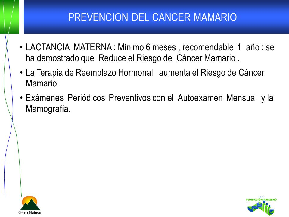 PREVENCION DEL CANCER MAMARIO LACTANCIA MATERNA : Mínimo 6 meses, recomendable 1 año : se ha demostrado que Reduce el Riesgo de Cáncer Mamario. La Ter
