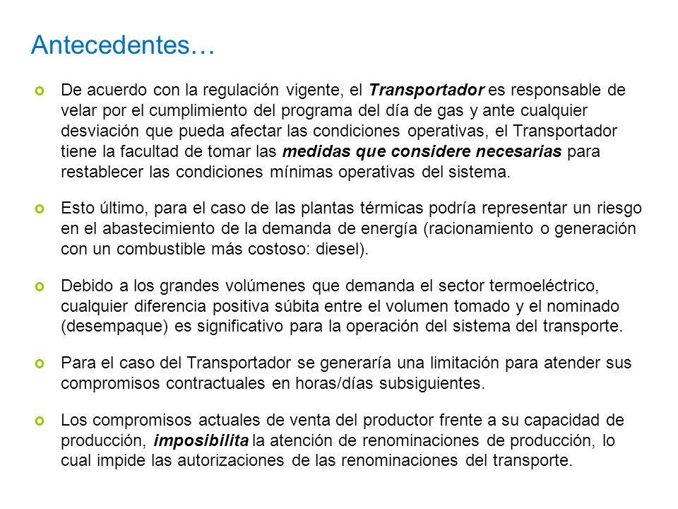 Antecedentes… De acuerdo con la regulación vigente, el Transportador es responsable de velar por el cumplimiento del programa del día de gas y ante cu