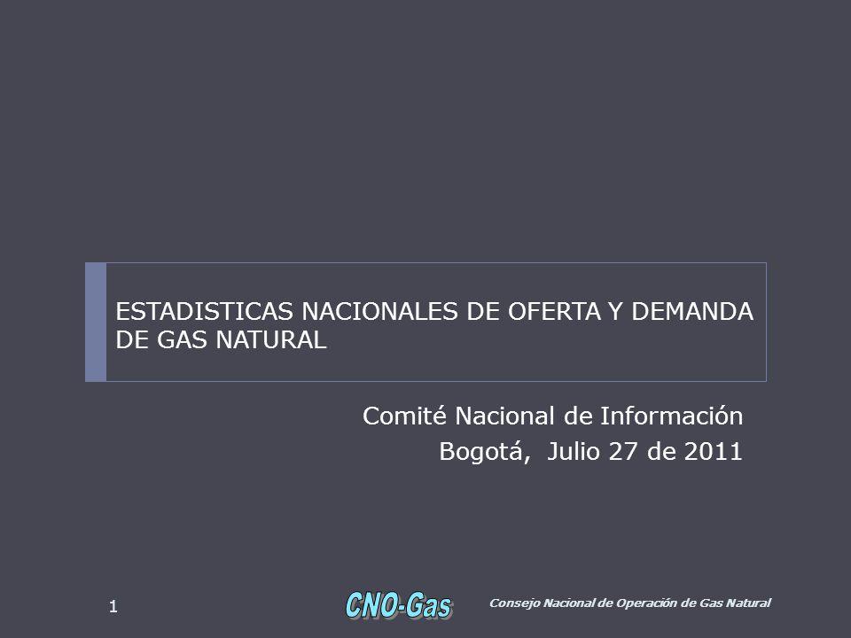 Comité Nacional de Información Bogotá, Julio 27 de 2011 Consejo Nacional de Operación de Gas Natural 1 ESTADISTICAS NACIONALES DE OFERTA Y DEMANDA DE GAS NATURAL
