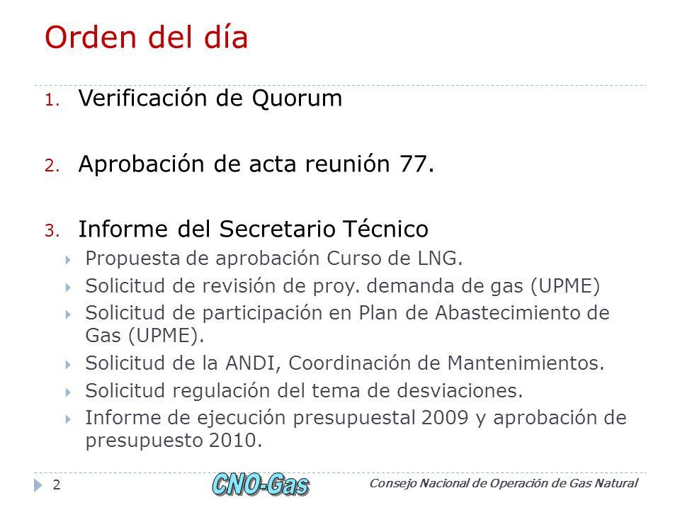 Orden del día 1. Verificación de Quorum 2. Aprobación de acta reunión 77. 3. Informe del Secretario Técnico Propuesta de aprobación Curso de LNG. Soli