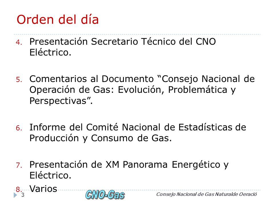 Orden del día 4. Presentación Secretario Técnico del CNO Eléctrico. 5. Comentarios al Documento Consejo Nacional de Operación de Gas: Evolución, Probl