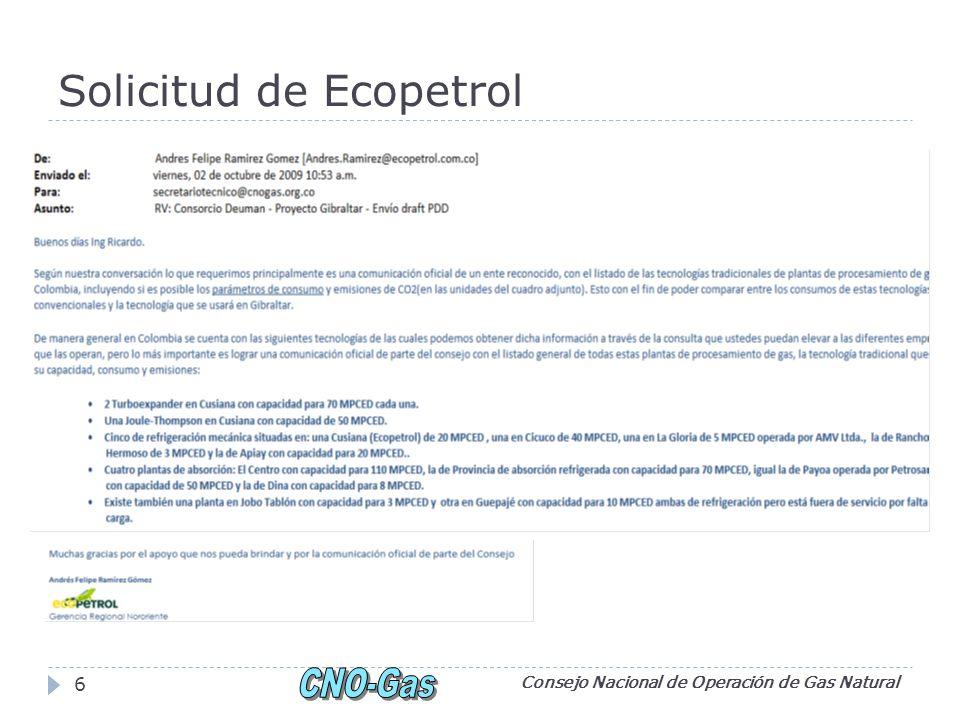Solicitud de Ecopetrol Consejo Nacional de Operación de Gas Natural 6