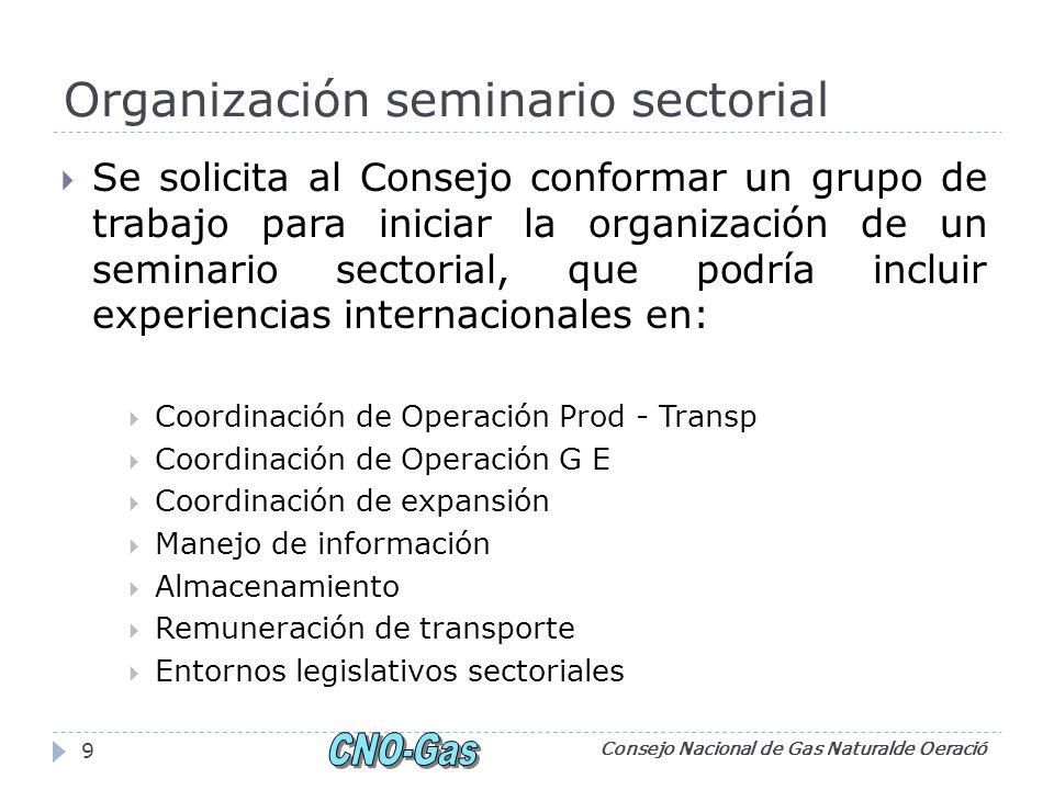 Organización seminario sectorial Se solicita al Consejo conformar un grupo de trabajo para iniciar la organización de un seminario sectorial, que podr