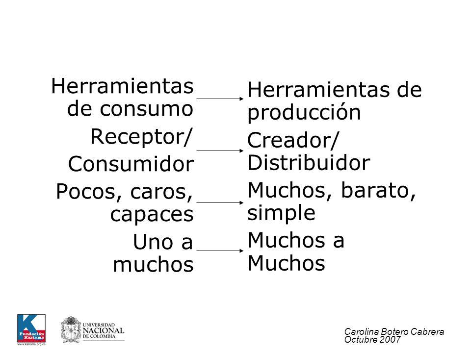 Carolina Botero Cabrera Octubre 2007 Herramientas de producción Creador/ Distribuidor Muchos, barato, simple Muchos a Muchos Herramientas de consumo R