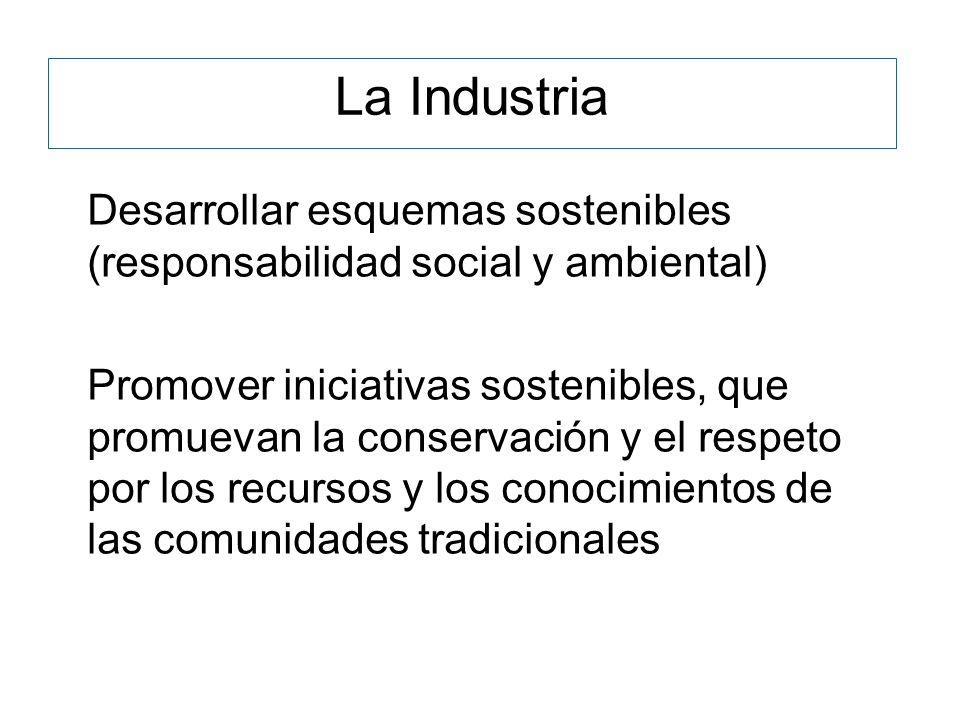 Desarrollar esquemas sostenibles (responsabilidad social y ambiental) Promover iniciativas sostenibles, que promuevan la conservación y el respeto por