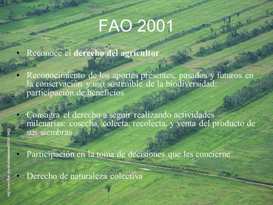 FAO 2001 Reconoce el derecho del agricultor Reconocimiento de los aportes presentes, pasados y futuros en la conservación y uso sostenible de la biodi