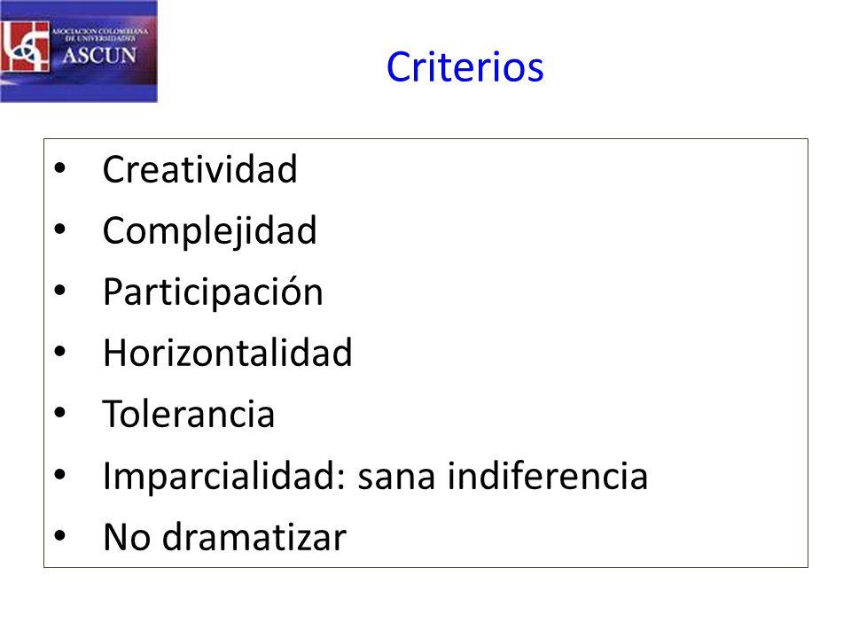 Criterios Creatividad Complejidad Participación Horizontalidad Tolerancia Imparcialidad: sana indiferencia No dramatizar