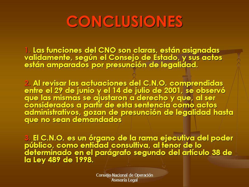 Consejo Nacional de Operación Asesoría Legal CONCLUSIONES 1.