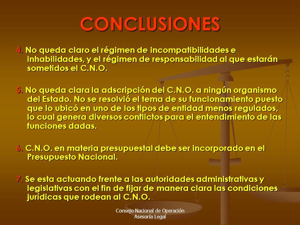Consejo Nacional de Operación Asesoría LegalCONCLUSIONES 4.