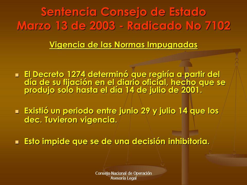 Consejo Nacional de Operación Asesoría Legal Sentencia Consejo de Estado Marzo 13 de 2003 - Radicado No 7102 Vigencia de las Normas Impugnadas El Decreto 1274 determinó que regiría a partir del día de su fijación en el diario oficial, hecho que se produjo solo hasta el día 14 de julio de 2001.