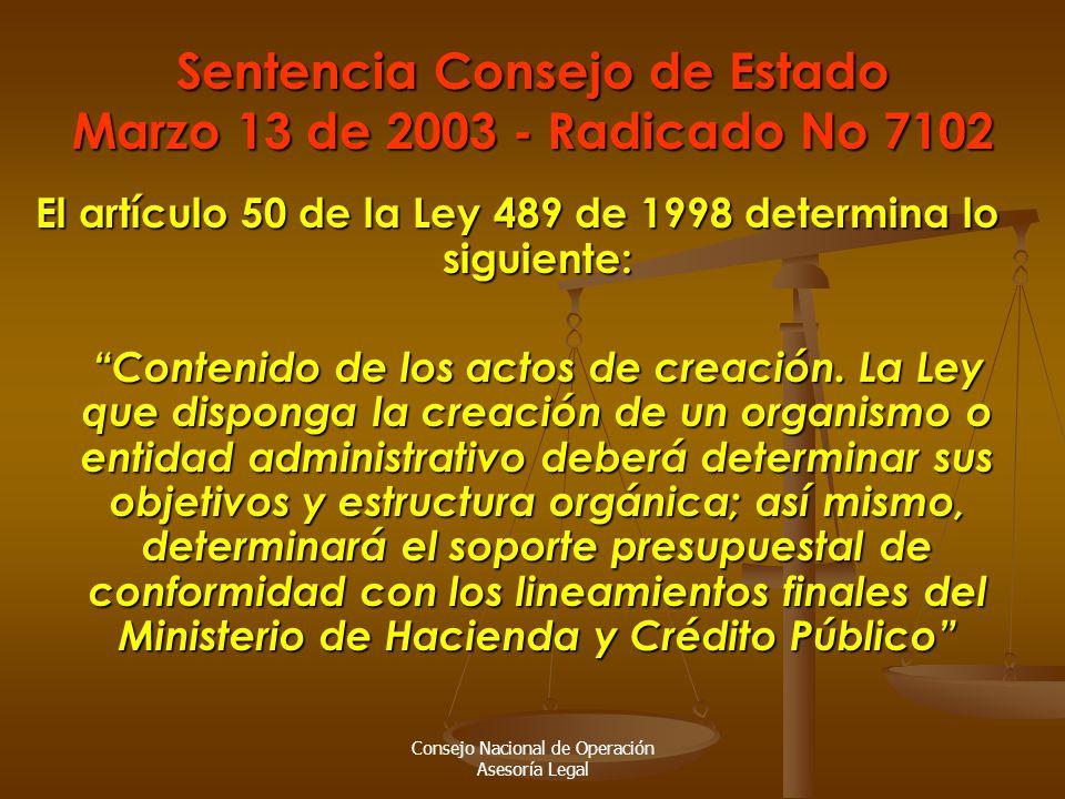 Consejo Nacional de Operación Asesoría Legal Sentencia Consejo de Estado Marzo 13 de 2003 - Radicado No 7102 El artículo 50 de la Ley 489 de 1998 determina lo siguiente: Contenido de los actos de creación.