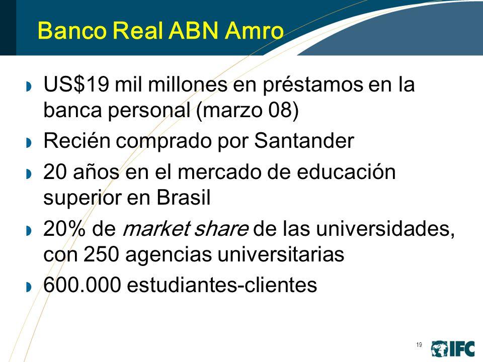 19 Banco Real ABN Amro US$19 mil millones en préstamos en la banca personal (marzo 08) Recién comprado por Santander 20 años en el mercado de educación superior en Brasil 20% de market share de las universidades, con 250 agencias universitarias 600.000 estudiantes-clientes