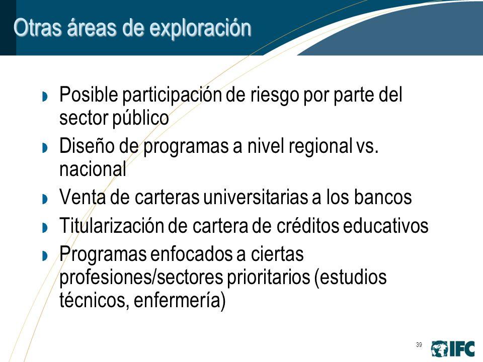 39 Otras áreas de exploración Posible participación de riesgo por parte del sector público Diseño de programas a nivel regional vs.