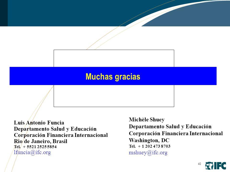 40 Muchas gracias Michèle Shuey Departamento Salud y Educación Corporación Financiera Internacional Washington, DC Tel.
